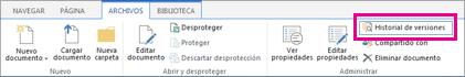 Captura de pantalla de la pestaña Archivos con el botón Historial de versiones resaltado