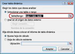 Cuadro de diálogo Crear tabla dinámica