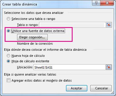 Cuadro de diálogo Crear tabla dinámica con uso de origen de datos externo seleccionado