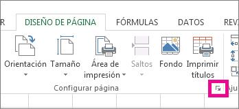 Haga clic en la flecha de la esquina inferior derecha del grupo Configuración de página