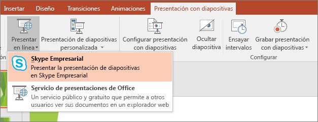 Se muestra la opción para presentar en línea en PowerPoint