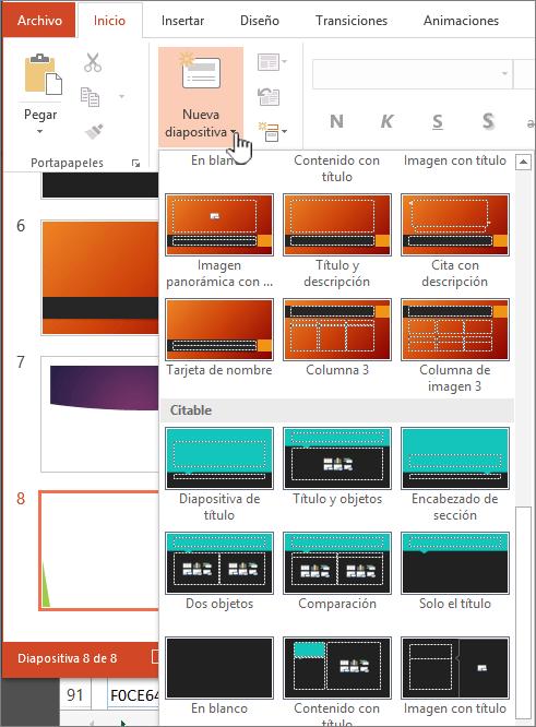 Haga clic en la flecha situada junto a nueva diapositiva para la selección de patrones