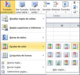 Escalas de colores para el formato condicional