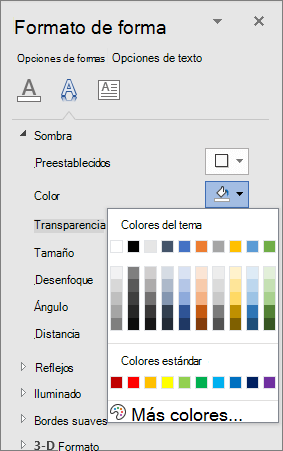 Selección de colores de sombra de WordArt