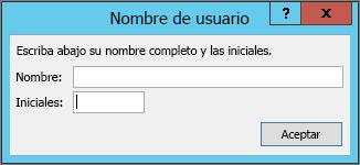 Cuadro de diálogo de nombre de usuario
