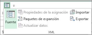 En la barra de herramientas de acceso rápido, haga clic en XML