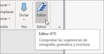 Elija Editor en la pestaña Inicio o presione F7 para abrir el panel del Editor.