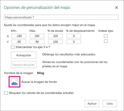 Cuadro de diálogo de opciones de mapas personalizados