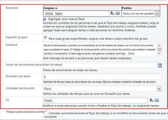 Segunda página del formulario de asociación con los campos del formulario de inicio identificados