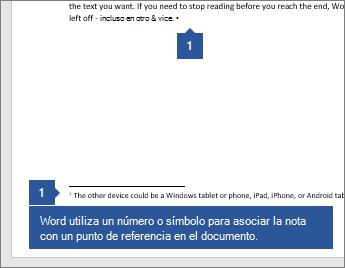 Word utiliza un número o símbolo para asociar la nota con un punto de referencia en el documento