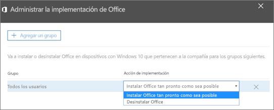 En el panel Administrar implementación de Office, elija Instalar Office tan pronto como sea posible o Desinstalar Office.