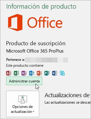 Captura de pantalla de selección de Administrar cuenta en la página de cuenta de la aplicación de escritorio de Office