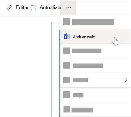 Seleccione los puntos suspensivos (...) para ver más opciones y, a continuación, seleccione Abrir en la Web.