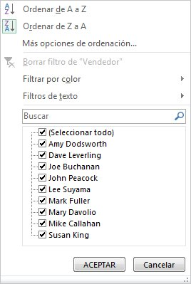 Opciones de filtrado u ordenación de un gráfico dinámico