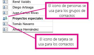 Los iconos de contactos son para grupos de contactos y los iconos de tarjetas son para contactos individuales