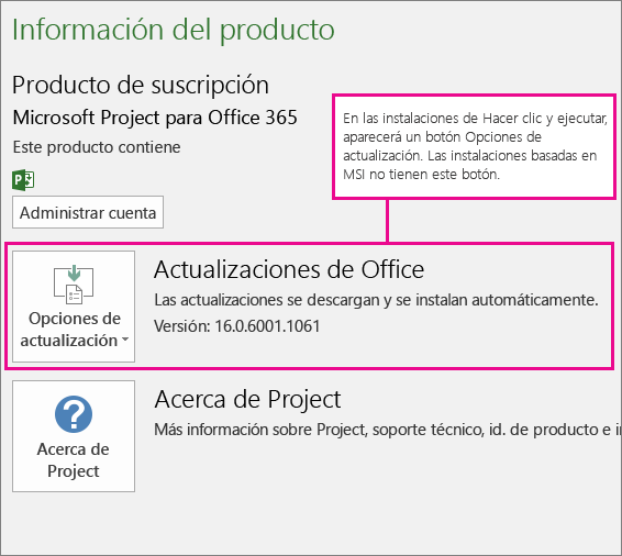 Las instalaciones de Hacer clic y ejecutar tienen un botón de Opciones de actualización en la página Cuenta. Las instalaciones basadas en MSI no tienen este botón.