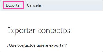 Captura de pantalla del botón Exportar