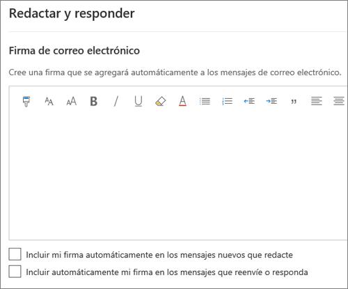 Crear y agregar una firma de correo electrónico en Outlook en la Web