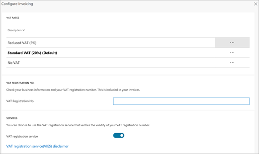 Captura de pantalla: cambiar el IVA de configuración