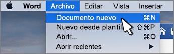 Nueva opción de documento