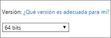 Seleccione 64 bits en la lista desplegable de versiones