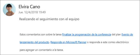Captura de pantalla: muestra un correo electrónico de grupo donde un compañero de trabajo responde al primer comentario.