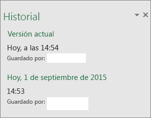 Panel de historial de Excel 2016 para Windows