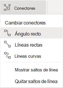 La pestaña Formas de la cinta de opciones tiene un menú de Conectores de opciones.