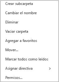 Menú contextual o de acceso directo que aparece al hacer clic con el botón derecho en una carpeta personal.