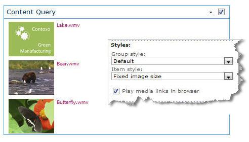Elemento web Consulta de contenido configurado con tamaño fijo de imagen