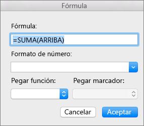 El cuadro Fórmula, que muestra la fórmula usada para sumar una columna