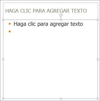 Agregar texto al marcador de posición