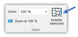 Captura de pantalla del botón Ampliar selección que se encuentra en la pestaña Vista de la cinta de opciones.