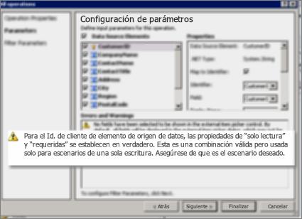 Captura de pantalla 2 donde aparece el cuadro de diálogo Todas las acciones en SharePoint Designer. Esta página muestra las advertencias que detallan la configuración de las propiedades de las claves de la lista.