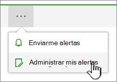 Botón de alertas de SharePoint Online administrar resaltado