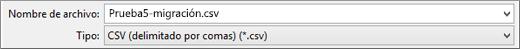 Se muestra la opción Guardar como CSV de Excel