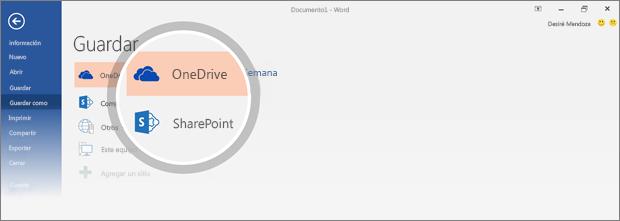 Se resaltan las ubicaciones de OneDrive y de SharePoint en las que es posible guardar el documento