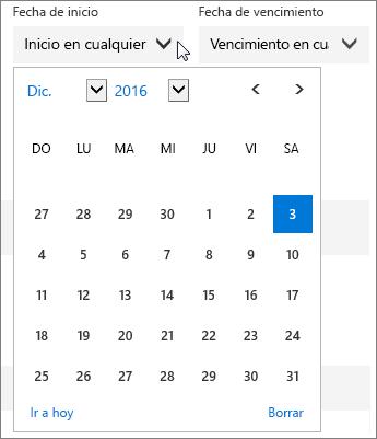 Captura de pantalla del menú Fecha de inicio ampliado para una tarea de Planner.