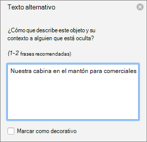 El panel de texto alternativo en Word