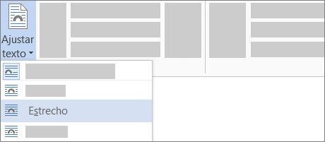 Opción de texto Ajuste estrecho en la cinta de opciones