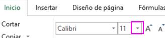 botón de selección de fuente de la cinta de opciones