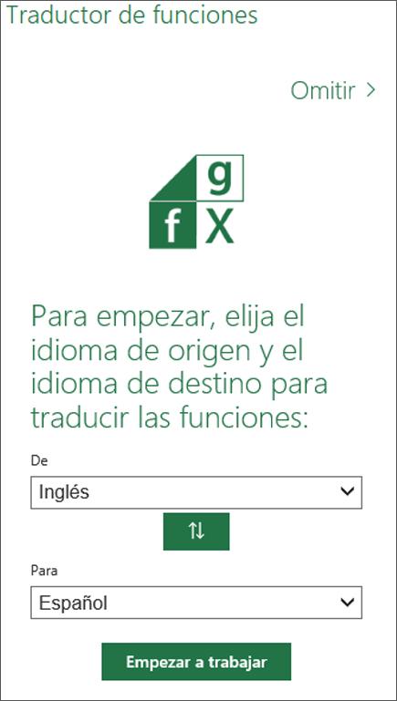 Panel Configuración de idioma del Traductor de funciones