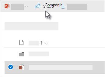 Captura de pantalla de selección de un archivo y hacer clic en el comando Compartir