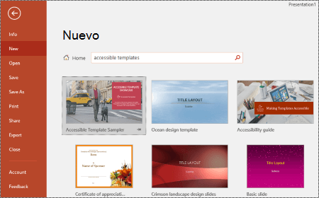 Vista de plantillas en PowerPoint para Windows.