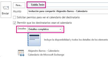 Invitación para compartir el Buzón correo electrónico internamente: configuración del cuadro Para y Detalles
