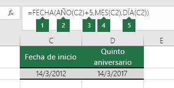 Calcular una fecha basándose en otra fecha