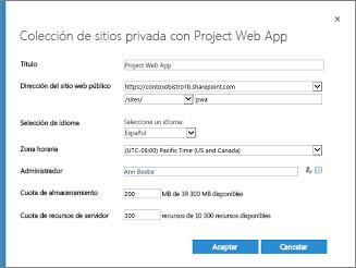 Colección de sitios privados con Project Online