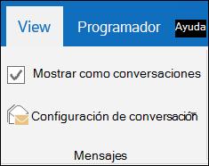 Ver mensajes por conversación.