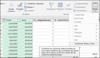 Power Query: combinar fechas y horas en una columna de fecha y hora desde el Editor de consultas