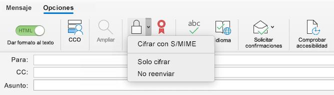 Opción cifrar con S/MIME